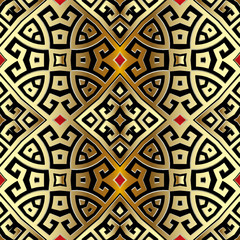 Ancient gold 3d greek vector seamless pattern. Tribal ethnic style geometric background. Ornamental repeat ornate backdrop. Greek key meanders ornament. Luxury design for wallpapers, fabric, prints