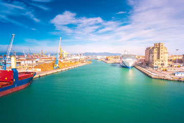 Port of Livorno, one of the largest Italian seaports and one of the largest seaports in the Mediterranean Sea.