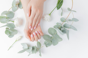 Stylish plain female hand manicure gel polish on white flower background eucalyptus, top view. Concept natural organic skin care