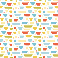 Retro geometric kitchen utensil pattern. Seamless vector background. Colorful vintage kitchen bowl on white backgroud. For fabric, wallpaper, packaging, Decorative print. Vintage kitchen background.