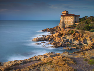 alone castle in sunset time on the cliff in Livorno in Tuscany in Italy
