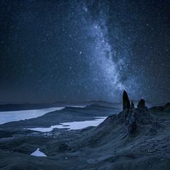 Milky way over Old Man of Storr in Scotland