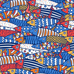 Cute fish.  Kids lbackground. Seamless pattern. Can be used in textile industry, paper, background, scrapbooking.