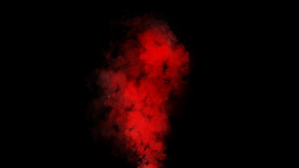 Red expolosion smoke bomb on isolated black background. Design element.
