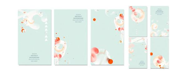 Elegant neo mint color pastel muted pale calm tones card templates set