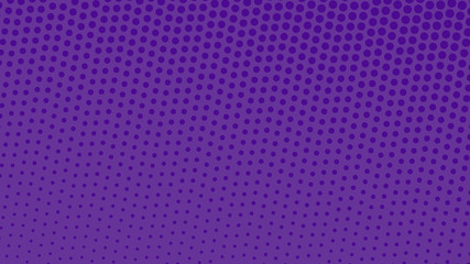 Purple with violet pop art background in retro comic style with halftone dots design isolated