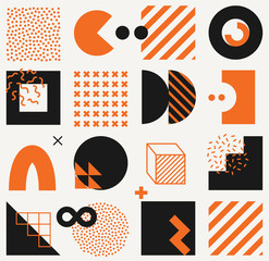 Vector minimalistic seamless pattern with bright bold geometric shapes. Hipster Memphis style.