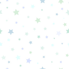 Seamless abstract pattern with little stars of different size and color on white background.