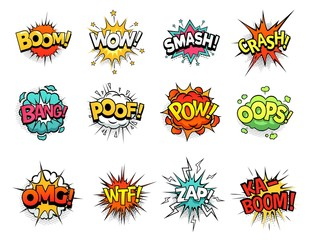 Cartoon comic sign burst clouds. Speech bubble, boom sign expression and pop art text frames. Comics mem expressions speech, superhero book bubbles label. Isolated vector symbols set