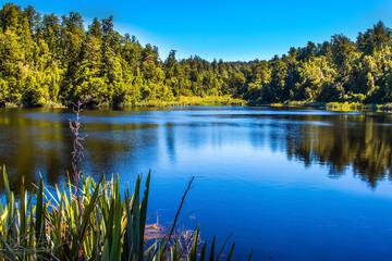 Mirror glacial lake Lake Matheson