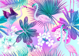 Seamless pattern, background with tropical plants, flowers and birds. Colored vector illustration in neon, fluorescent colors. In light ultra violet pastel colors on mesh pink, blue background