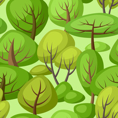 Spring or summer seamless pattern with stylized trees.