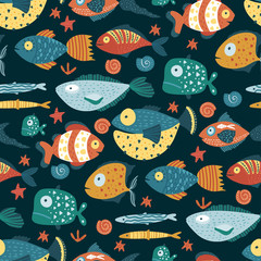 Seamless vector pattern with cute cartoon funny fishes in a scandinavian flat style. Color kid ornate underwater fabric graphic illustration.