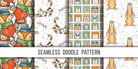 Collection of cute vector seamless patterns