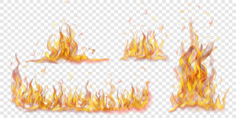 Set of translucent burning campfires of flames and sparks on transparent background. For used on light backgrounds. Transparency only in vector format