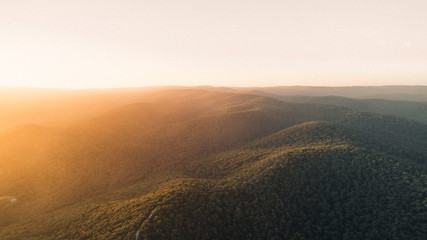 Aerial View of Sunset Over Beautiful Forest Landscape Along the Great Ocean Road, Victoria Australia