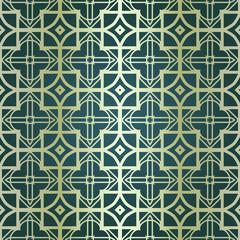 Art-deco vintage seamless geometric pattern. Vector illustration. Royald color