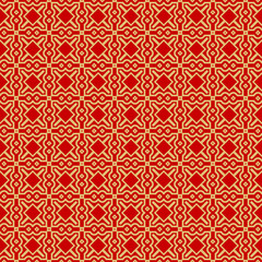 Modern Stylish Geometry Seamless Pattern Art Deco Background. Luxury Texture For Wallpaper, Invitation. Vector Illustration. Red gold color