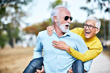 senior couple happy elderly love together