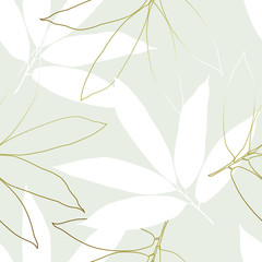 Seamless tropical pattern with  leaves.  Graphic vector background.