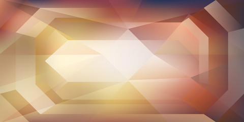 Abstract crystal background with refracting light and highlights in yellow and brown colors