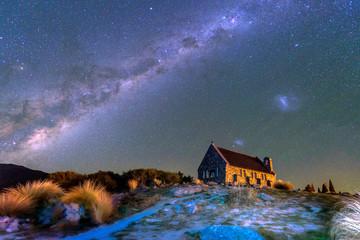 The Milky Way  Over Church of the Good Shepherd, Lake Tekapo, South Island New Zealand