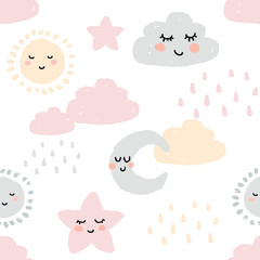 Cute childish seamless pattern in delicate pastel colors. Sleeping sun, cloud, moon and star. Ornament for wrapping paper, wallpaper, postcards, baby products. Flat stock vector isolated on a white