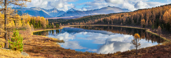 Panoramic view of the forest lake, Altai, Siberia. Bright autumn day. Taiga, beautiful sky and reflection in the water.