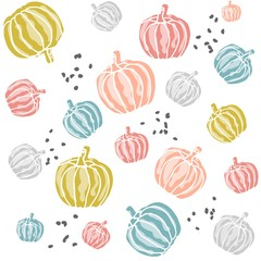 Seamless retro pattern made of pastel colored pumpkins. Scandinavian, nordic style