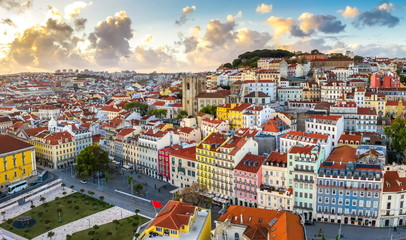 Lisbon cityscape panorama Alfama Portugal colored houses