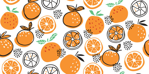 Stylish citrus oranges fruits seamless pattern