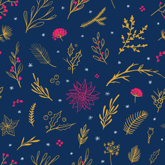 Beautiful Christmas pattern with floral elements. Vector seamless pattern with flowers, leaves, berries and snowflakes. Winter holiday wrapping paper.