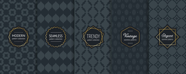 Black vector seamless patterns. Collection of luxury ornamental background swatches with modern minimal golden labels. Elegant abstract geometric vintage textures. Premium design for decor, package