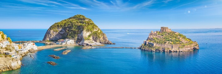 Panoramic collage with famous attractions of Ischia Island in Italy: Aragonese Castle, green mountain near fishing village Sant'Angelo and clear azure sea.
