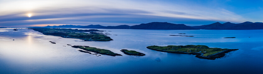 aerial panorama of loch linnhe on the west coast of scotland in the argyll region of the highlands near port appin and oban and fort william showing pink skies and calm blue water