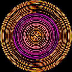 Abstraction with concentric colored circles of various frequencies isolated on a black background. Print. Fantastic picture of circular sectors,concept of a musical record in neon light