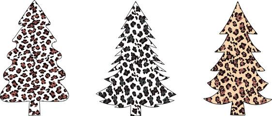 Leopard Christmas trees EPS 10 , Leopard Christmas t-shirt, Clip art