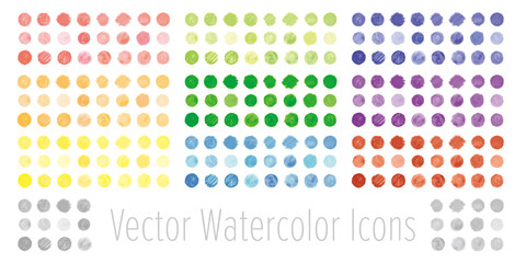 Vector set of watercolor circles. 水彩のベクター円形セット