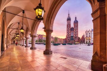 St. Mary's Basilica on the Krakow Main Square at Sunrise, Krakow, Krakow