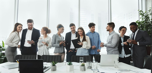 Successful business team talking in conference room