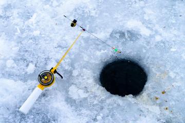 Winter fishing. Fishing rod for ice fishing