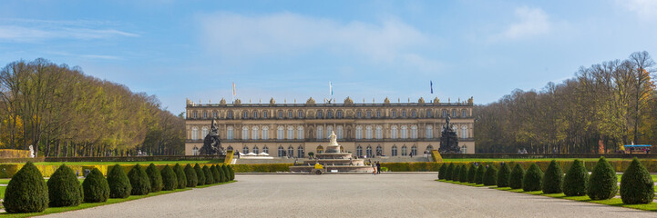 HERRENCHIEMSEE, BAVARIA / GERMANY - Oct 23, 2019: Front view on Schloss Neues Herrenchiemsee (new palace / castle). Construction started in 1878, Initiated by King Ludwig II. Example of early baroque.
