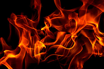 Red fire forms abstraction in black background