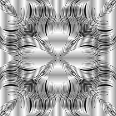 Floral textured silver 3d vector seamless pattern. Ornamental surface black and white grunge background. Silk repeat symmetrical backdrop. Decorative flowers design. Elegance striped 3d wave ornament