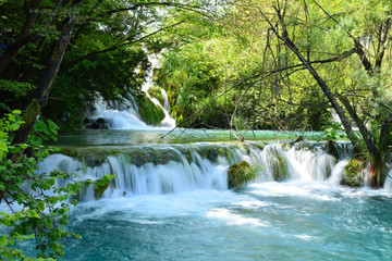 Slightly long exposure of a mini wide waterfall in Plitvice Lakes National Park, Croatia