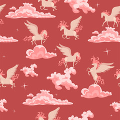 Pink seamless pattern with pegasus in the clouds. Vector graphics.