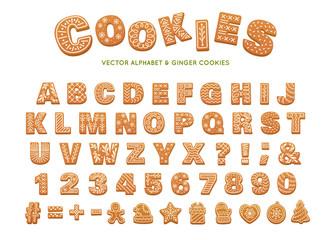 Gingerbread alphabet for decoration design. Christmas vector illustration. Sweet dessert. Winter holiday elements.