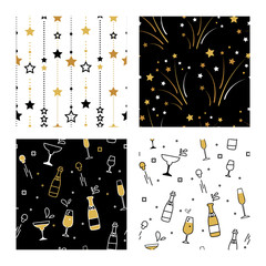 Collection of seamless pattern designs for celebrations , birthday and graduation party. Gold , white and black patterns. Vector illustration