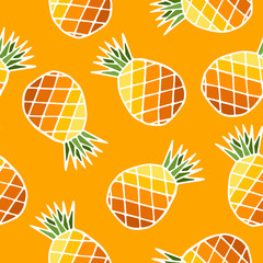 Seamless pattern with bright colored pineapple fruits with leaf on yellow background. Modern design. Print for fabric, wrapping papers, wallpapers, covers, summer clothes. Creative vector illustration