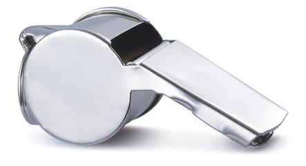 Chrome polished referees whistle image